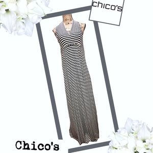 CHICO'S Black & White Maxi Dress